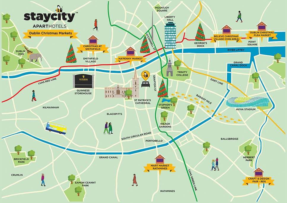 Illustrated map of Dublin Christmas Markets