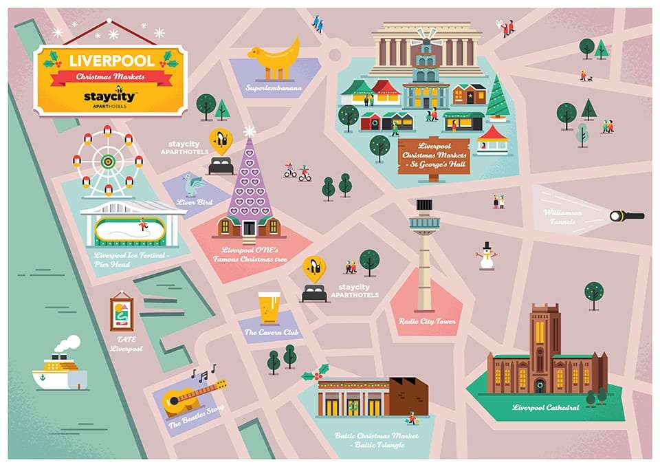 Illustrated map of Liverpool Christmas Markets