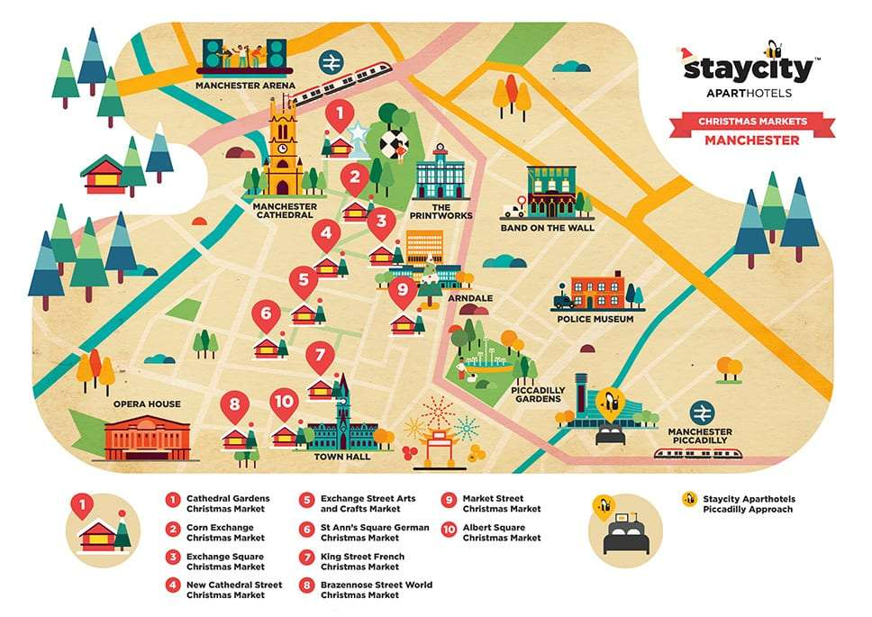 Illustrated map of Manchester Christmas Markets - Manchester Sehenswürdigkeiten