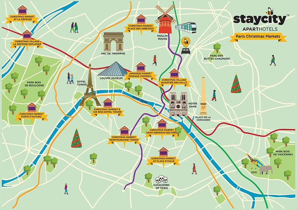 Illustrated map of Paris Christmas Markets