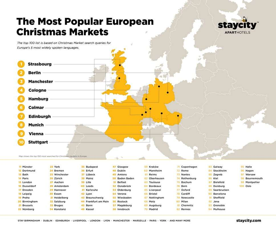 Map of the Top 100 European Christmas Markets 2018